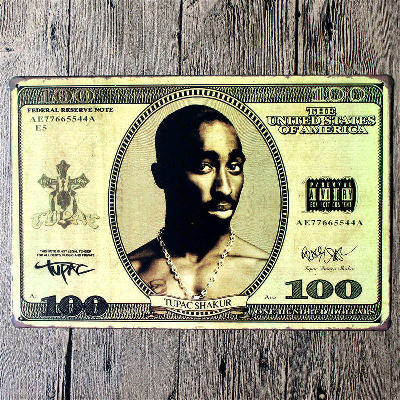 Tupac Amaru Shakur 2PAC Makaveli Metal Art Poster lata decorativos placas placa de Metal Vintage Hombre firmar 20*30 CM