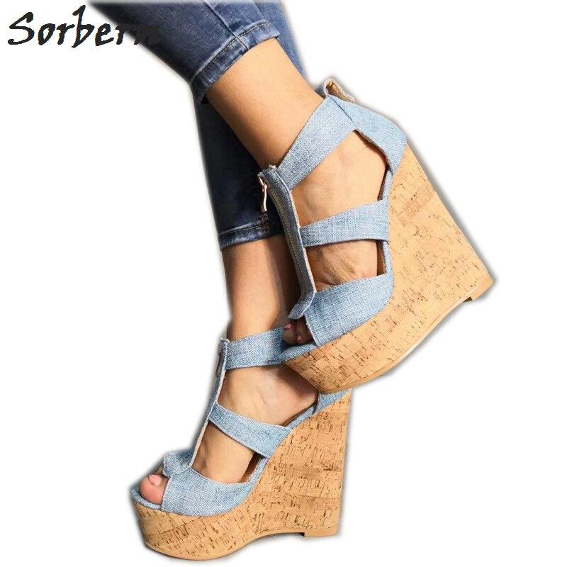 Sorbern Pale Blue Jeans sandały damskie buty na koturnie sandały rozmiar 11 damskie buty buty na koturnie Plataformas Mujer Sandalias 2019