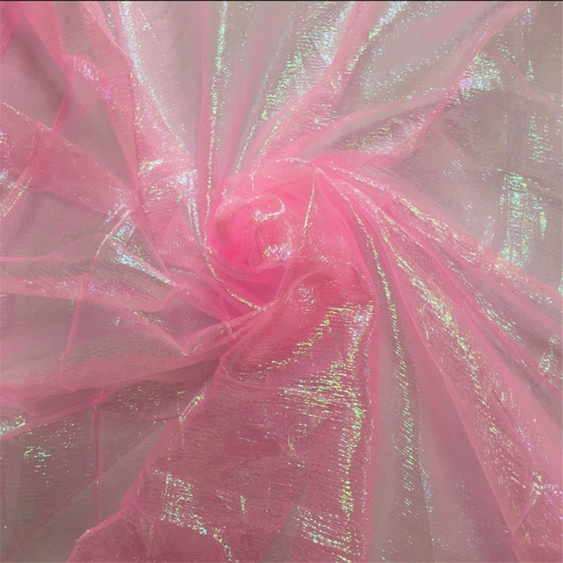 SASKIA 5 metros de ancho 110cm láser brillante arruga tela Multicolor decoración gasa para boda ropa de cama Diy Material hecho a mano Rosa rojo
