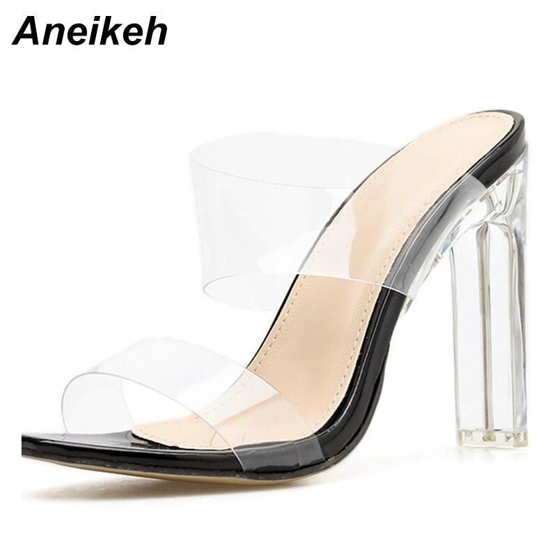 Aneikeh 2020, verano, nuevas sandalias de PVC de gelatina, sandalias con punta abierta de cristal, tacones finos sexis, Sandalias de tacón transparente de cristal para mujer, zapatillas de tacón