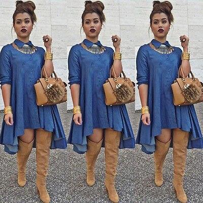 Sexy Mulheres Denim Jeans Camisa Blusa Tops Jeanswear Do Partido Mini vestido Clubwear