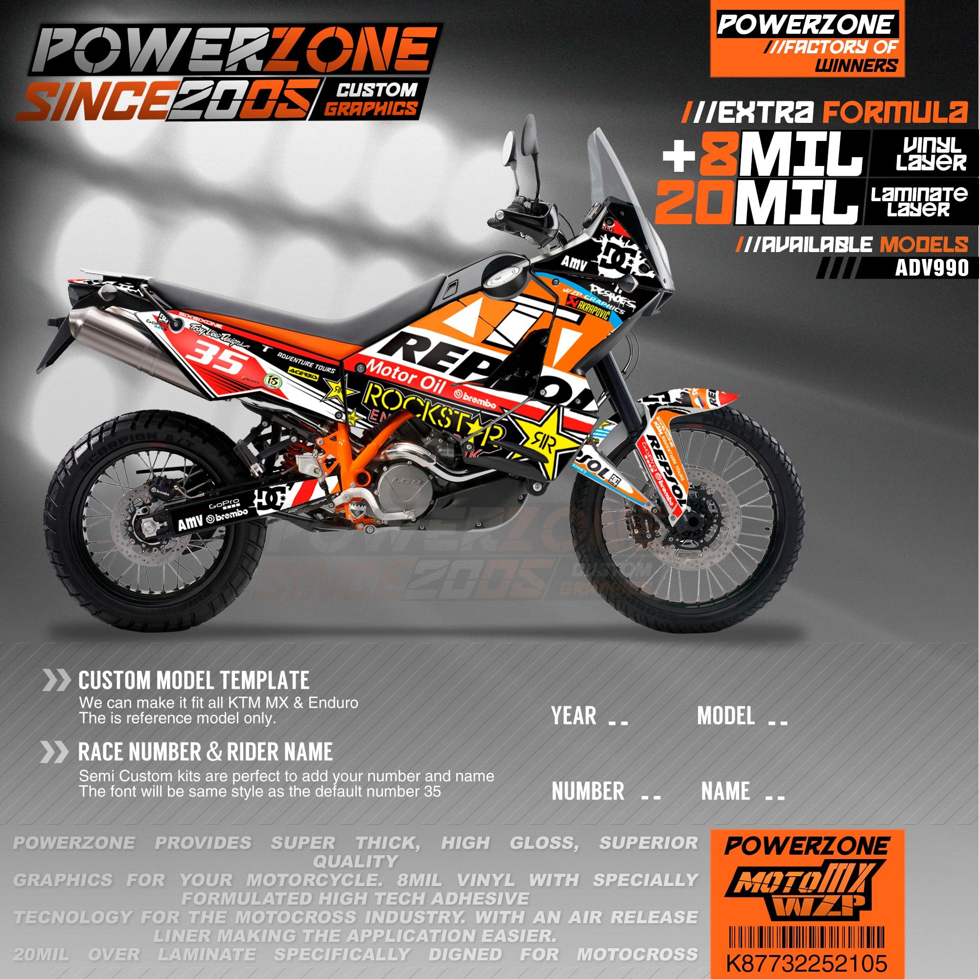 PowerZone مخصص فريق الرسومات الخلفيات الشارات 3M ملصقات عدة ل KTM ADV 950 990 105