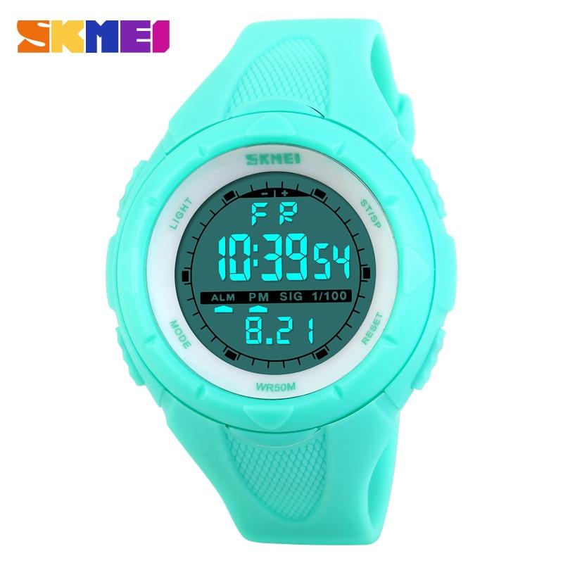 SKMEI 1074 relojes deportivos informales a la moda para mujer, reloj de regalo con alarma resistente al agua, reloj de pulsera Digital con LED para chico joven, reloj femenino