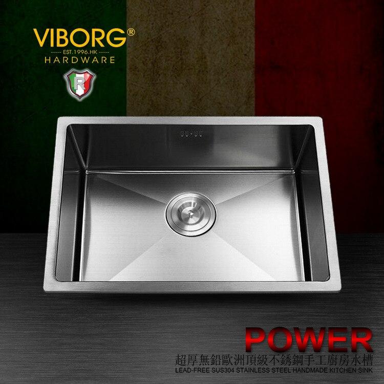 (600x400x220mm) fregadero de cocina de acero inoxidable 304 extragrueso hecho a mano VIBORG Deluxe