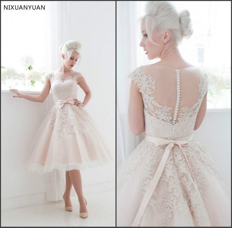 فستان زفاف قصير من الدانتيل ، مقاس كبير ، فستان زفاف عاجي ، مجموعة جديدة 2021