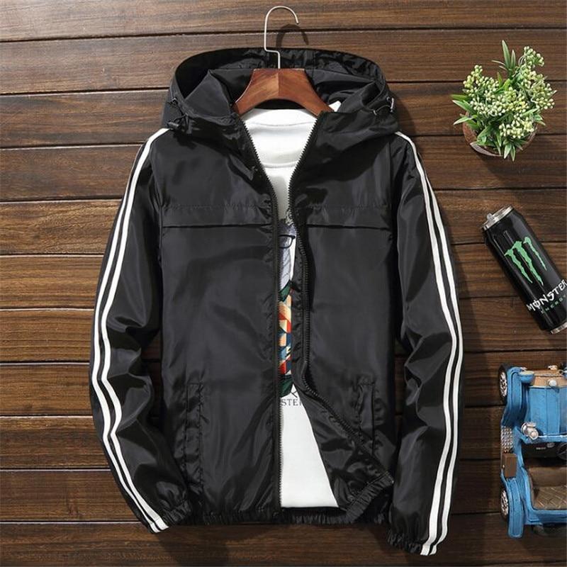 Chaqueta cortavientos para hombre 2020, chaqueta a rayas a la moda de primavera para hombre/mujer, chaquetas informales con capucha, chaqueta de abrigo masculina, abrigo fino para hombre, prendas de vestir