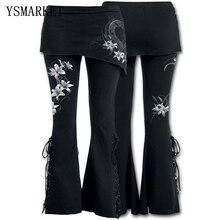YSMARKET S-5XL femmes 2 en 1 botte coupe Leggings grande taille Micro incliné jupe pantalon gothique Punk à lacets cloche bas Leggings E22045