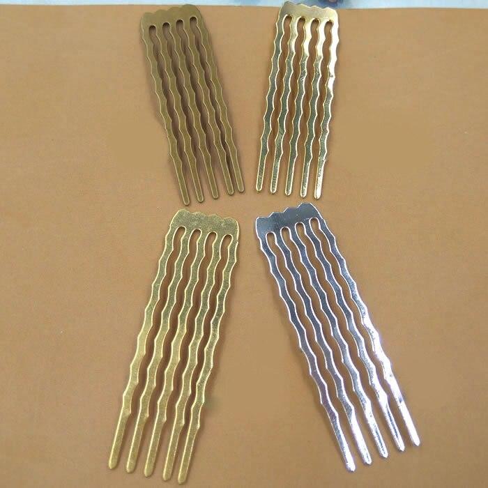 10pcs/lot 50mm 5/10/13 Teeth Copper Comb Hair Jewelry Charm Women Hairs Findings Barrettes Retro Headwear Wholesale DIY