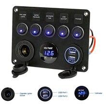 5 Gang Marine Boat LED Rocker Switch Panel Digital Voltmeter Dual USB Port 12V Power Outlet Circuit Breaker for BMW E46 Audi A4