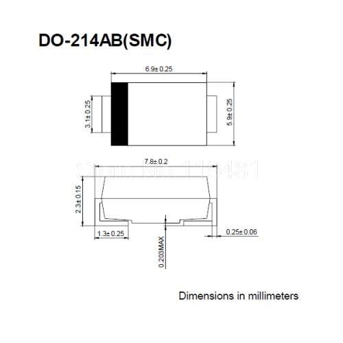 Diodos rectificadores SMD S3J DO-214AB 1N5406 -- YXDDZ