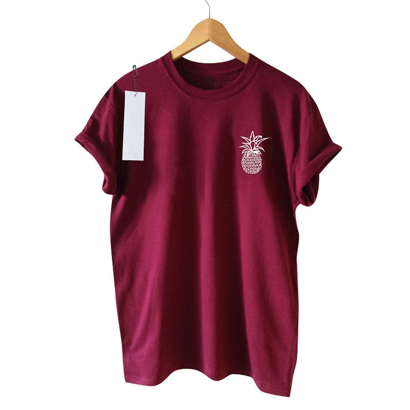 2018 moda mujer dibujo de fruta piña verano Camiseta cuello redondo pantalón corto casual manga mujer camiseta Top mujer ropa de talla grande XS-4XL
