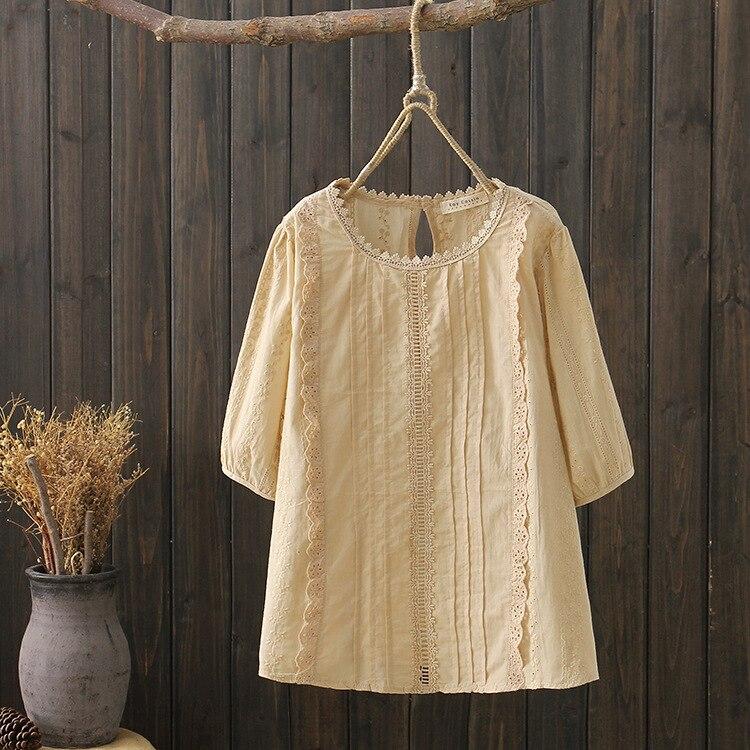 women boho shirt 2020 mori girls summer Japanese style fresh bohemian half sleeve white blue red embroidery hollow blouse tops