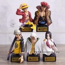 Dessin animé une pièce buste 5 pièces/ensemble Luffy loi Boa Hancock Silvers Rayleigh Eustass enfant PVC figurines jouets 8 cm