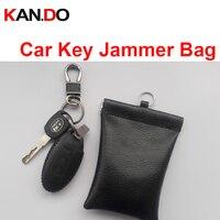soft leather car key sensor jammer bag Card Anti-Scan Sleeve bag signal blocker protection jammer remote car key jammer bag