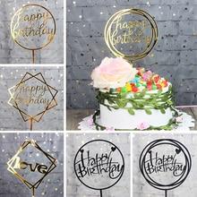 Décoration de gâteau en acrylique 1 pièce   Drapeau de cupcake pour anniversaire, fournitures de décoration pour fête prénatale mariage