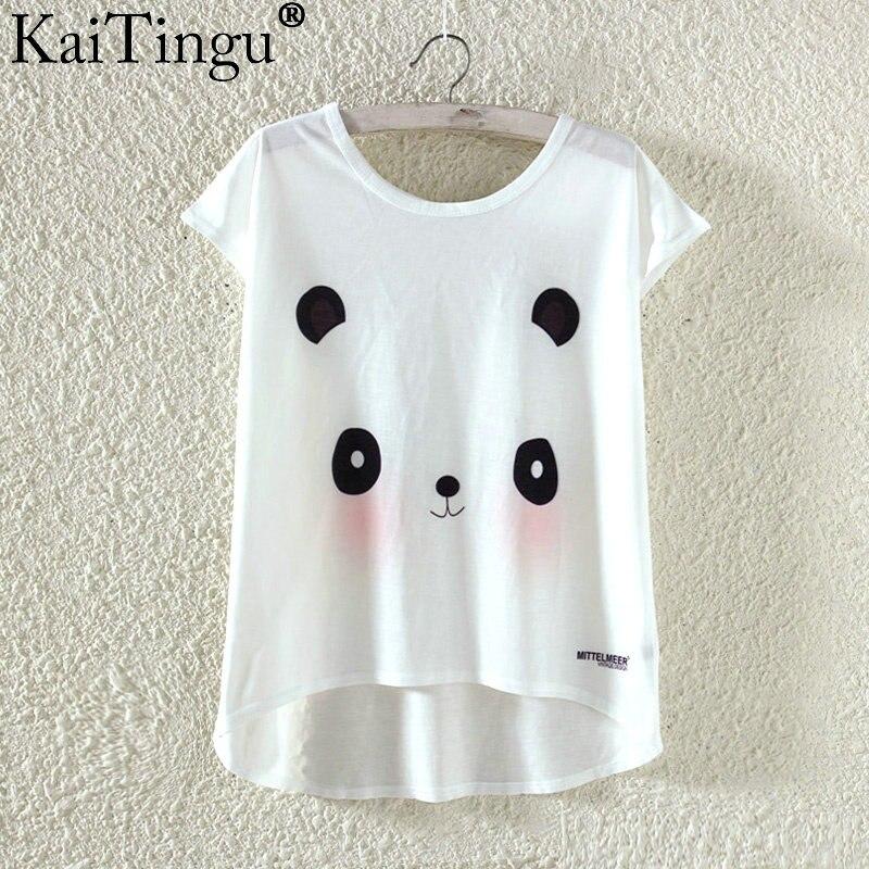 Kaitingu kawaii śliczne t koszula moda lato harajuku wysoki niski styl cat print t-shirt z krótkim rękawem t shirt kobiet topy plus size 16