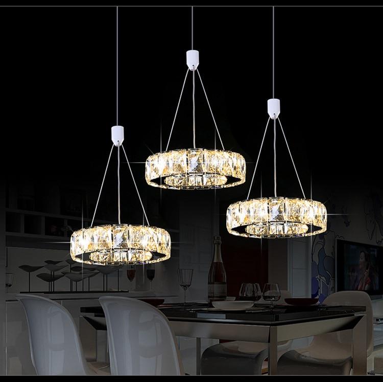3 luces colgantes de cristal circel, lámpara de techo de lujo a la moda para comedor, bar, lustre, colgantes, lustres para cuarto
