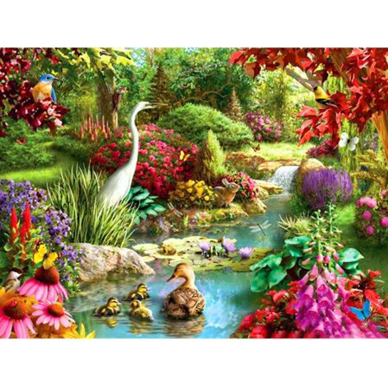 5D DIY diamante pintura paisaje animales patos y gansos flor jardín redondo taladro diamante vacaciones regalos DA320