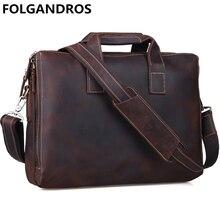 FOLGANDROS-mallette en cuir véritable hommes   Mallette de marque Vintage, portefeuilles fourre-tout Business grande capacité à bandoulière, sac à main
