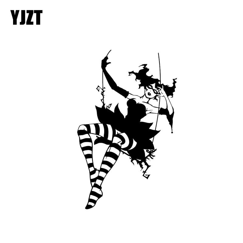 Pegatina de coche YJZT 9,2*14,1 CM Cool Bad Joker Sexy Girl negro/plata vinilo calcomanía estilo fantástico de alta calidad C20-0689