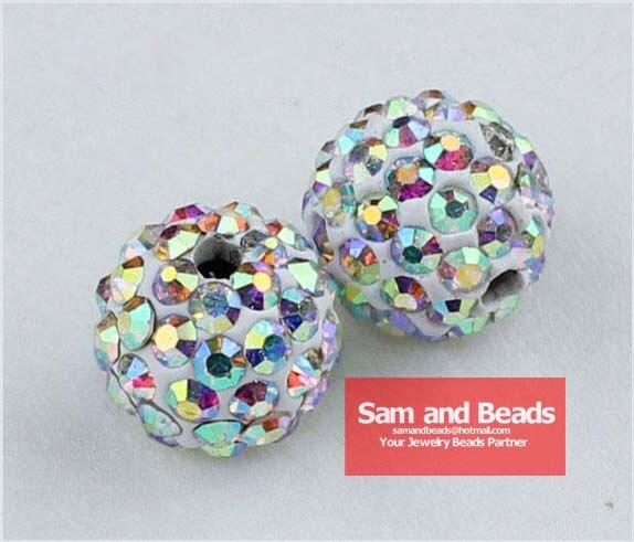50 unids/lote arcilla Disco cristal pavé cuentas de bola para pulsera Cristal AB venta al por mayor 10 MM de alta calidad