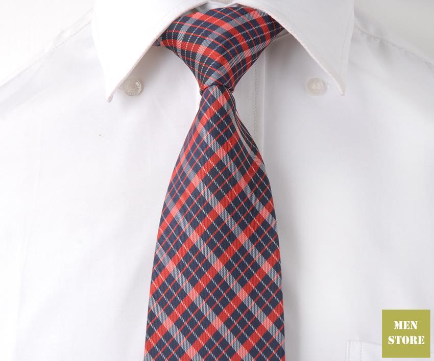 "Azul oscuro rojo blanco cuadros hombres 100% tejido jacquard de seda hecho a mano 3 ""Corbata 8 cm corbata boda fiesta novio corbata DT093"