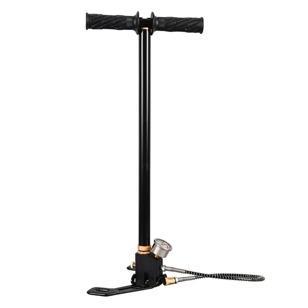 High Pressure Pump 3Stage 300bar 30mpa 4500psi Foldable Stainless Steel Hand Operated Air Pump For Bicycles Motorcycles Cars недорого
