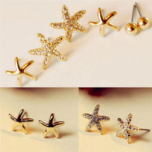 Trendy 3 Pairs/set Rhinestone Sea Star Starfish Earrings New Fashion Simple Earrings for Women Brinc