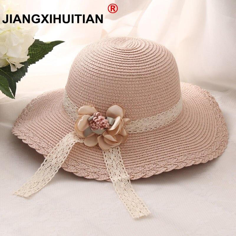 2017 летний модный дизайн, соломенная шляпа с широкими полями и цветами, соломенная шляпа с цветком для девочек, складная Солнцезащитная шляпа с полями, летние шляпы для детей