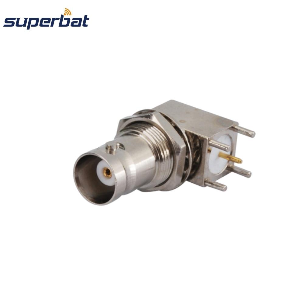 Superbat 10pcs BNC Thru Hole Jack Bulkhead Right Angle PCB Mount RF Coaxial Connector
