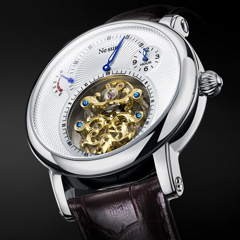 Reloj de pulsera NESUN de lujo de la mejor marca para hombre, tourbillon hueco, relojes de pulsera mecánicos automáticos, zafiro resistente al agua para hombres, reloj Masculino