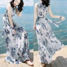 Women Dress 2019 Women Fashion Summer Bandage Mid-Calf Sleeveless Beach Printing Dress