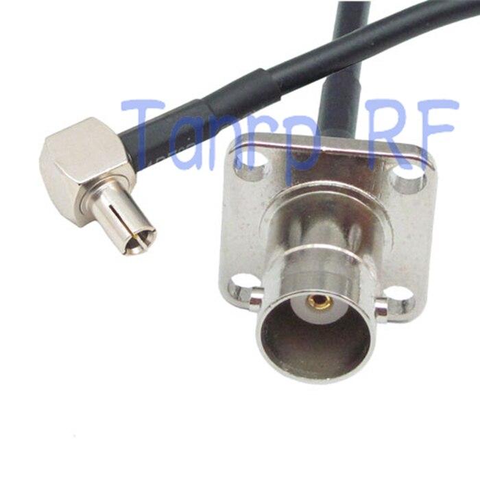 6in BNC hembra con 4 agujero panel TS9 ángulo recto macho conector de RF adaptador de 15 CM Pigtail coaxial Jersey cable RG174 extensión
