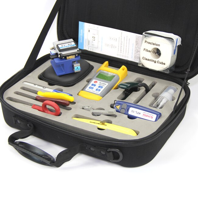Kit de herramientas de fibra óptica KomShine KFH-13 w/medidor de potencia de fibra óptica de OPM/luz roja Localizador Visual de fallos/de fibra Cleaver