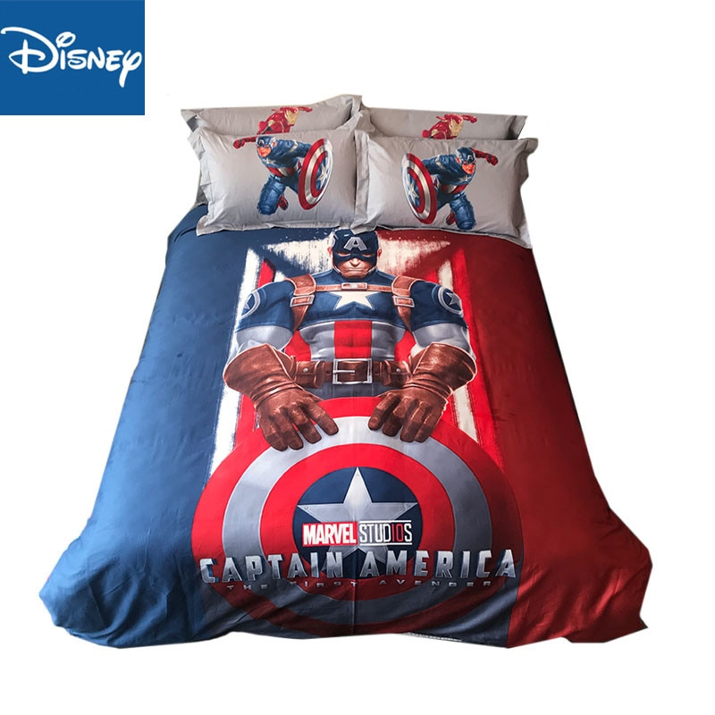 Juego de fundas de edredón Capitán América de marvel 3D de tamaño doble para niños con dibujos animados decoración para el hogar ropa de cama de algodón egipcio tamaño queen ropa de cama 3-4 Uds