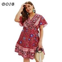 DOIB robe imprimée florale col en V profond Sexy manches papillon Boho élégant Bobycon robe de grande taille XL XXL XXXL XXXXL