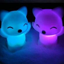 أضواء ليلية جديدة لعام 2019 7 ألوان متغيرة على شكل ثعلب جميل LED USB مصباح ليلي على شكل حيوانات مصباح حضانة برسوم كرتونية