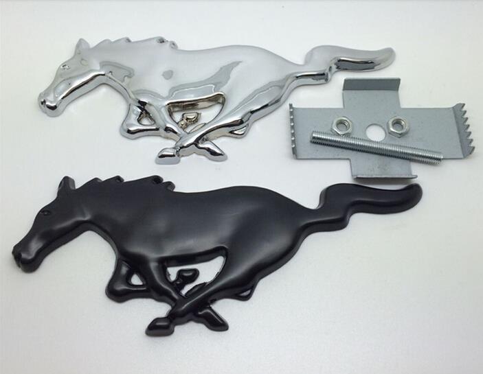 1 pcs Alta qualidade 3D Mustang Cavalo de Corrida do emblema do carro logo Metal Frente Capa Grille emblema estilo Do Carro