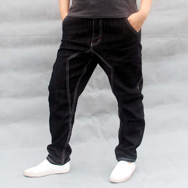 Pantalones vaqueros Harem de Hip Hop negro suelto holgado de algodón para hombre, pantalones vaqueros para hombre, pantalones vaqueros de talla grande S-4XL