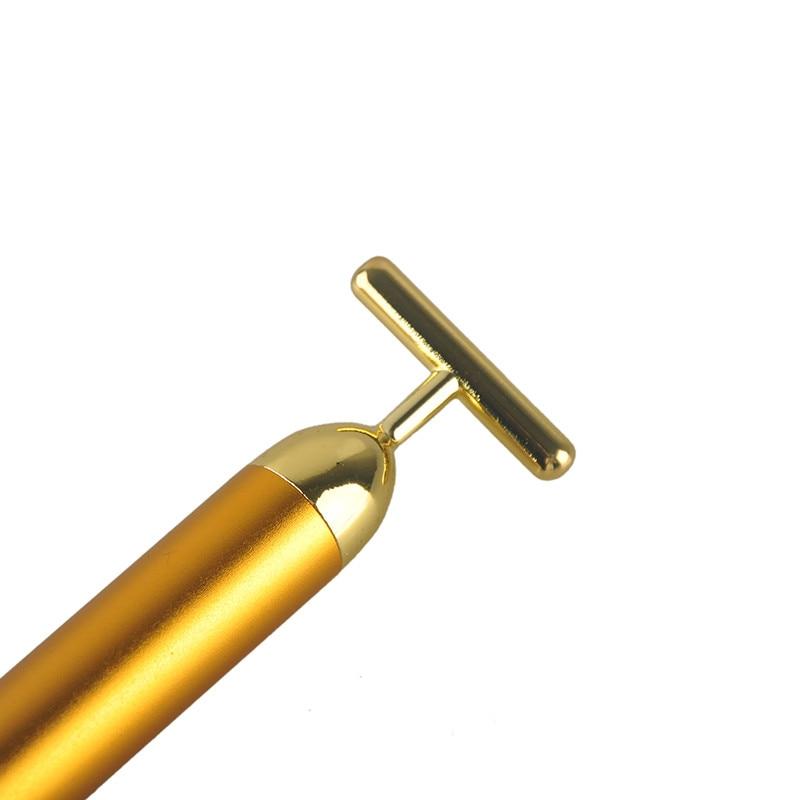 24K Gold Energy Beauty Bar Pulse Firming Massager Facial Roller Massager Derma Skincare Wrinkle Treatment