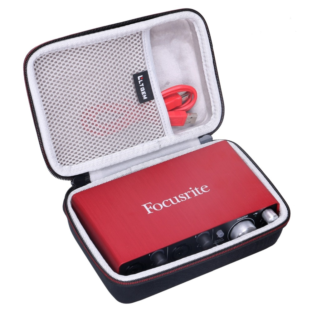 LTGEM EVA Hard Travel Case for Focusrite Scarlett Solo 2i2 (2nd Gen) USB Audio Interface