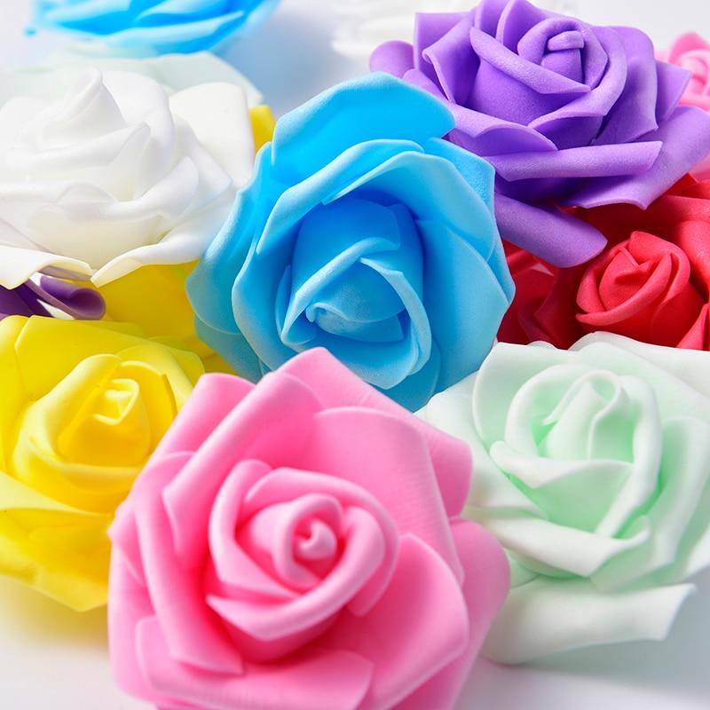 50 шт./лот 7 см искусственные цветы Большие PE поролоновые головки роз для DIY венки Свадебные украшения для мероприятий декоративные товары дл...