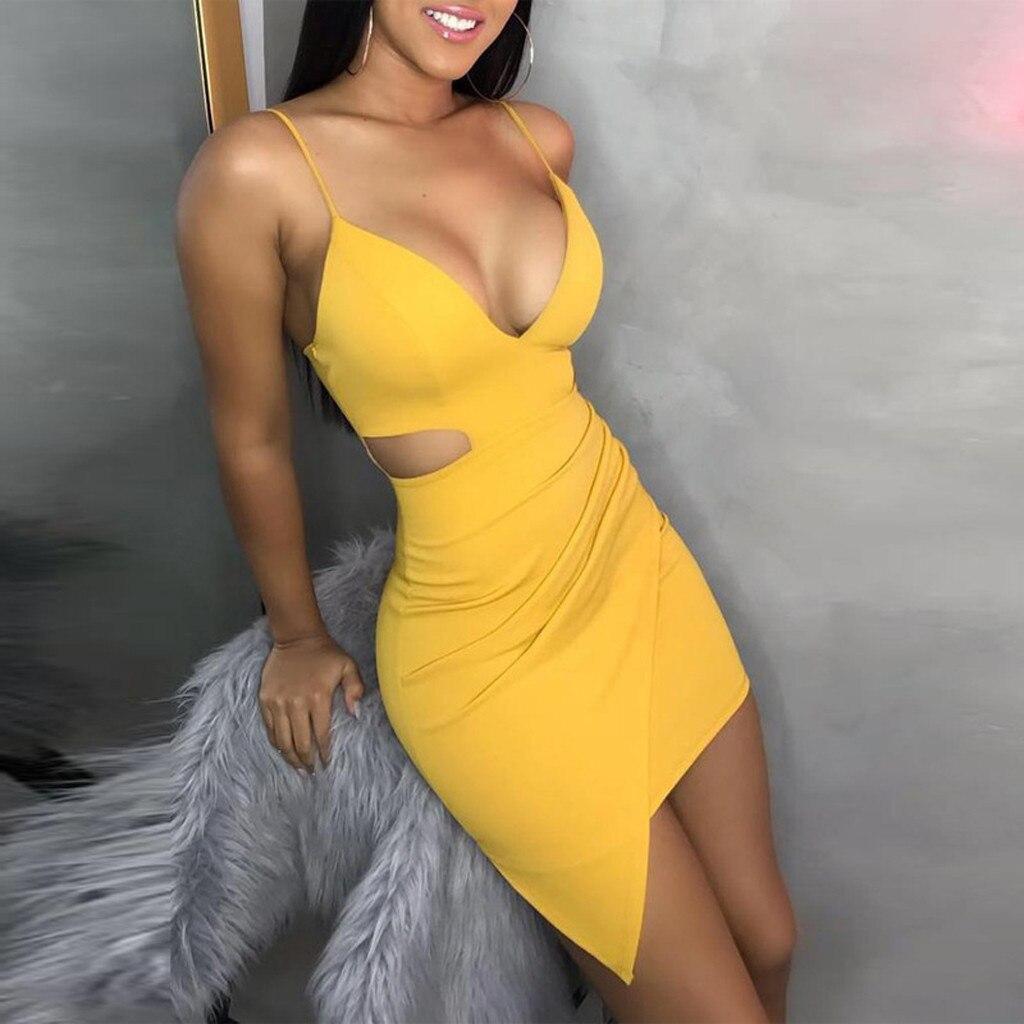 Женское платье без рукавов JAYCOSIN, однотонное облегающее Клубное платье с глубоким v-образным вырезом, 9041215, лето 2019