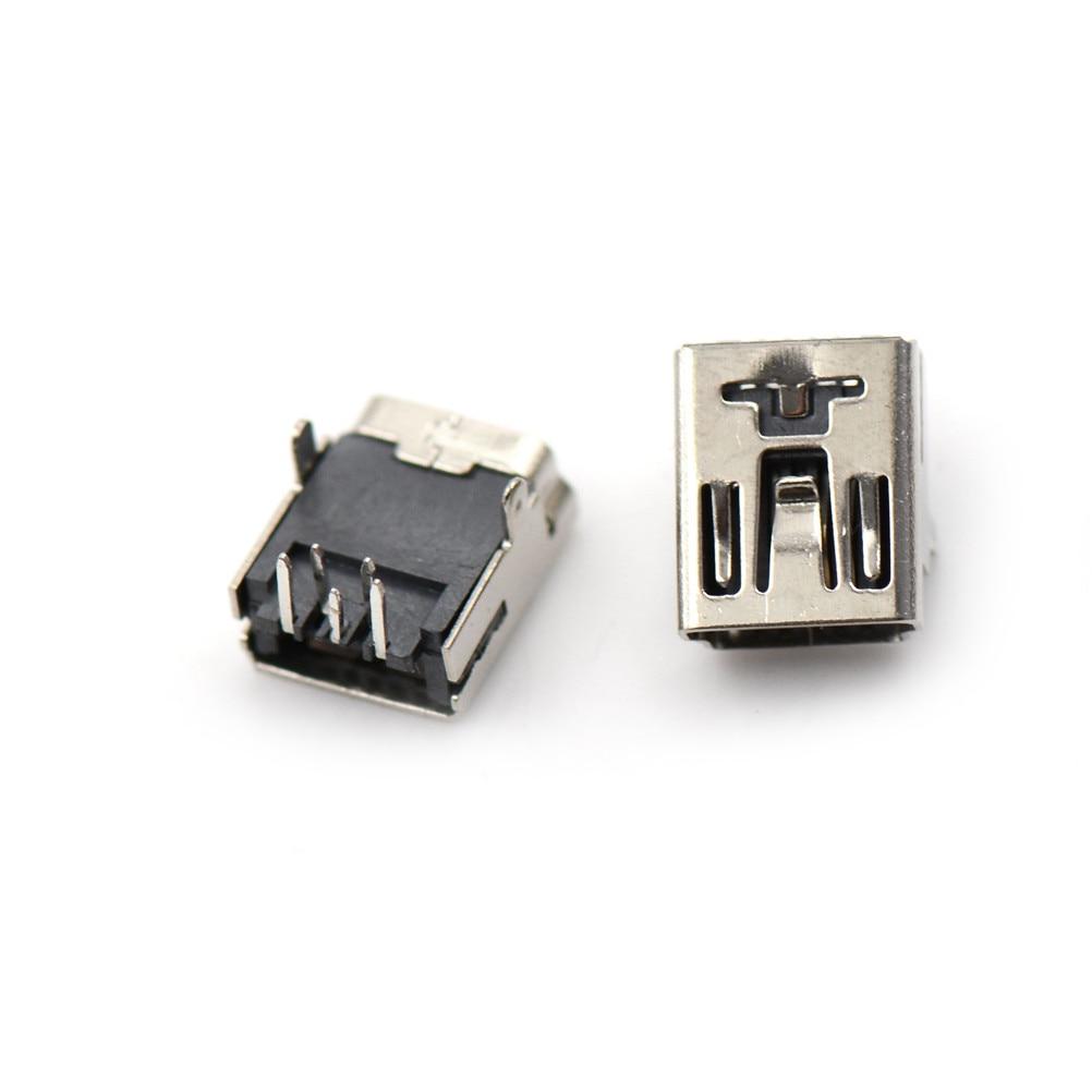 10pcs Micro USB Port Sockect Plug Male to Female Mini USB Jack Front 2Feet 5 PIN 90 Degrees Micro USB Connector For Phone