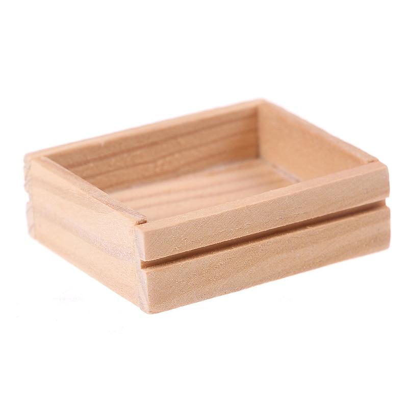 Деревянная коробка с фруктами, вином, кубиками льда, кукольный домик, Миниатюрная игрушка, холодильник, магнитная кукла, аксессуары для кухн...