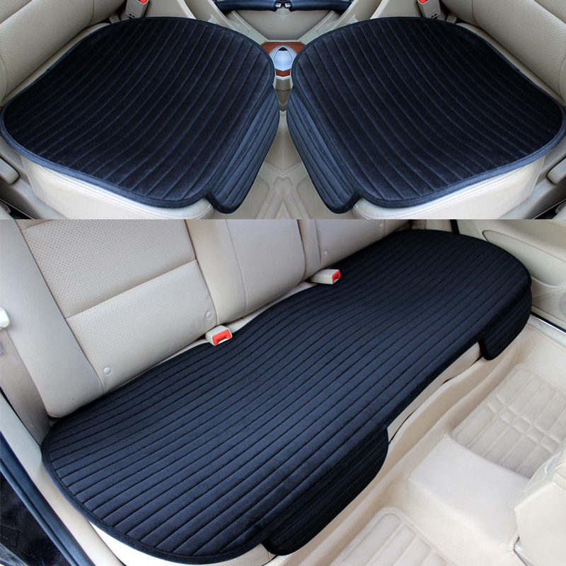 Car Seat Cover Front Rear Flocking Cloth Cushion Non Slide Auto Accessories Universa Seat Protector