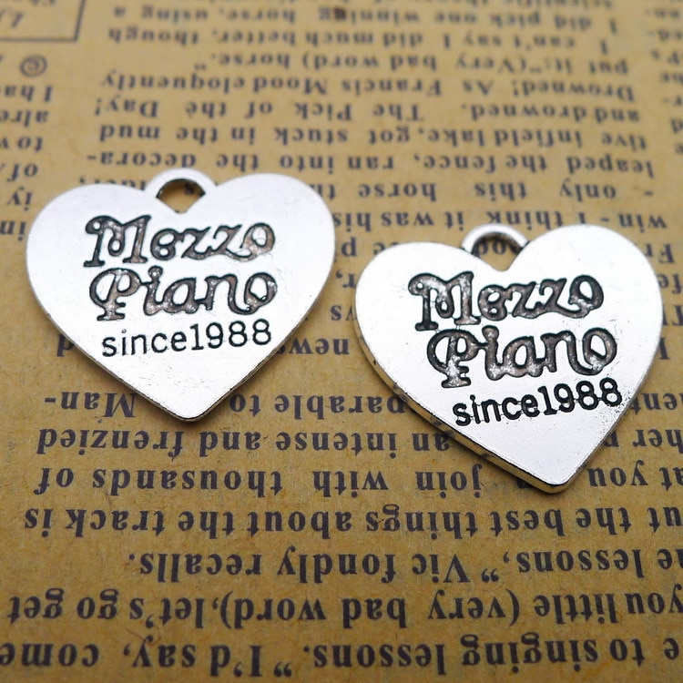 80 pcs mezzo piano since1988antique prata bronze alloy Pingente encanto brinco colar pulseira Jóias DIY 22*24mm