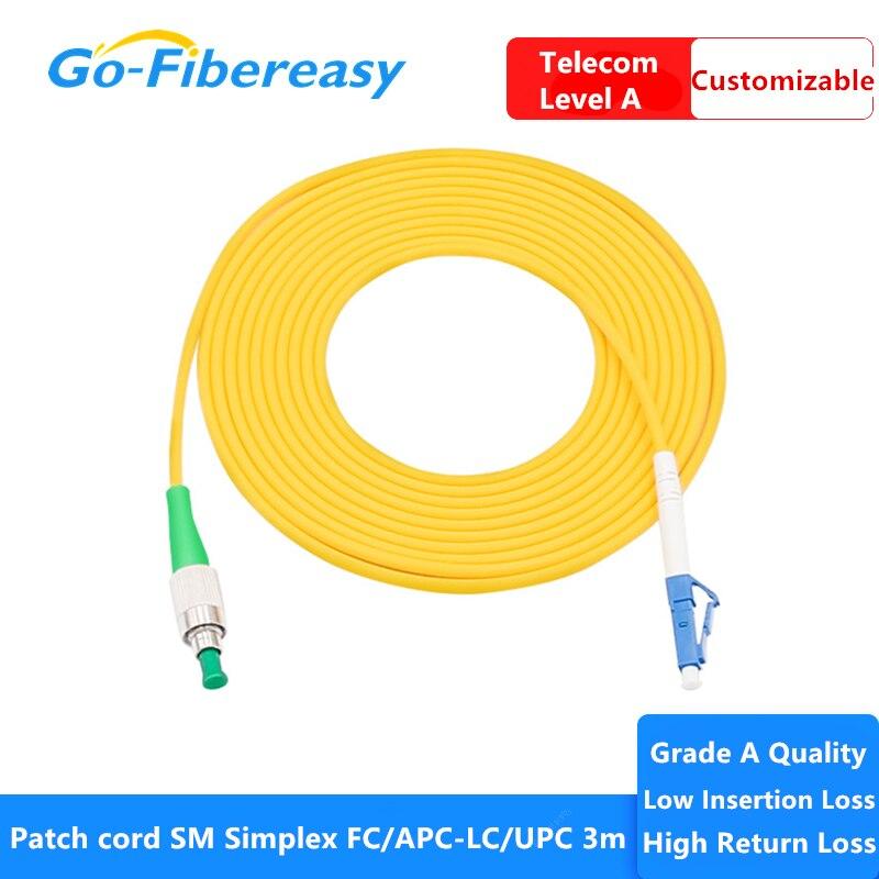 10 unids/lote ftth fibra óptica parche Cable SM Simplex FC/APC-LC/UPC/9/125um de PVC...