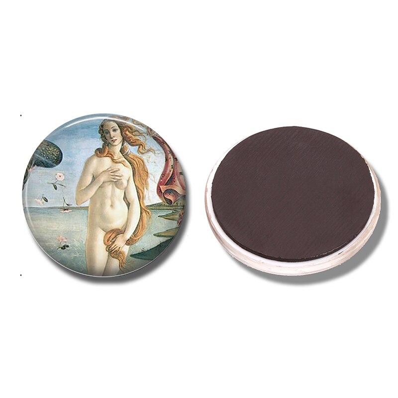 Birth of Venus 30 MM Fridge Magnet Renaissance Art Sandro Botticelli Glass Dome Magnetic Refrigerator Stickers Note Holder Decor
