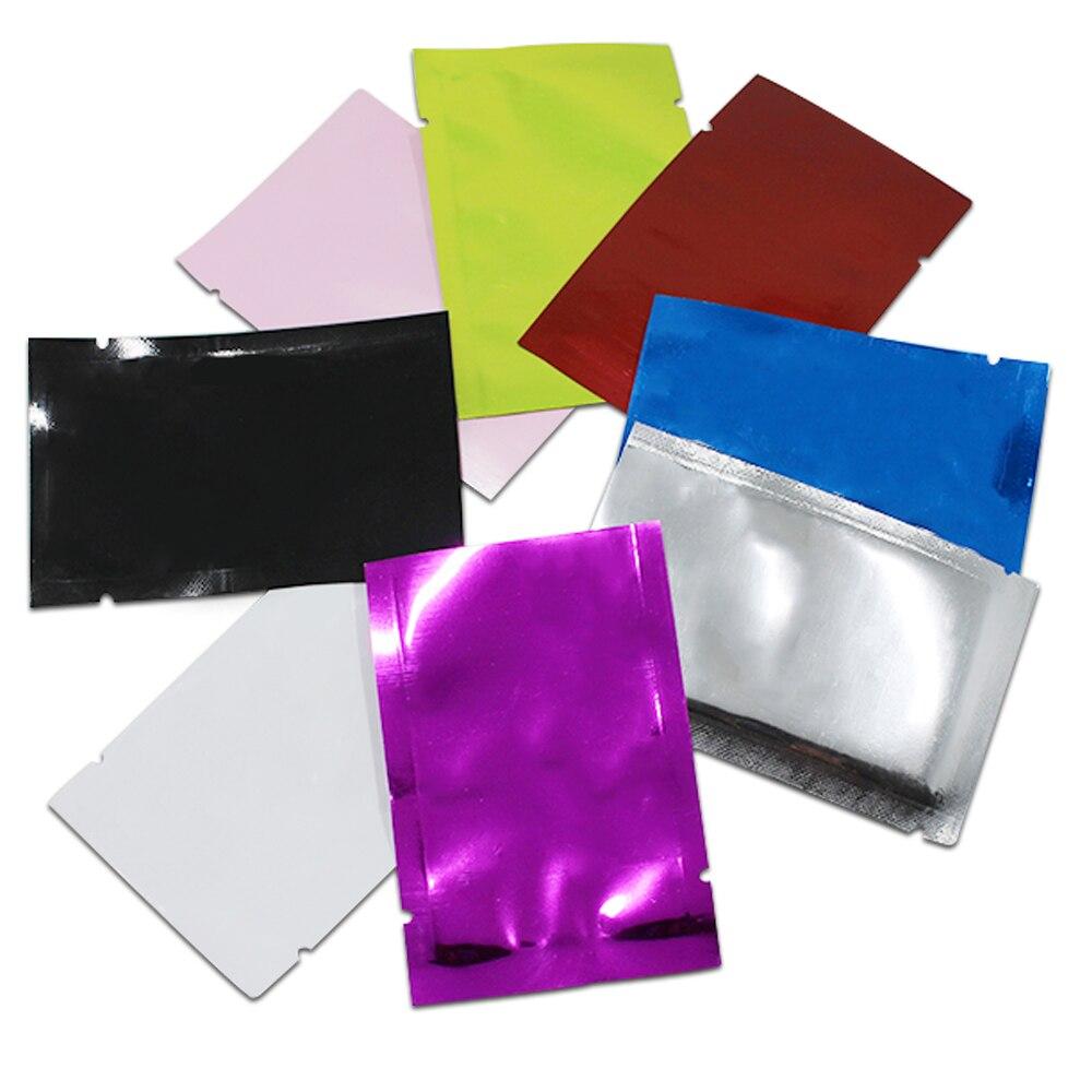 200 unids/lote bolsa de embalaje al vacío de papel de aluminio sellable al calor con tapa abierta bolsa plana Mylar bolsas de empaquetado de muestras bolsas de almacenamiento de café en polvo